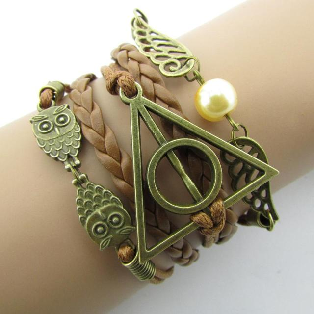 Fashion Charm  Hand-Woven Harry Potter Hallows Wings   Bracelets Vintage Multilayer Braided  B051B4.5