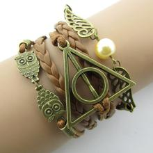 Fashion Charm Hand-Woven Harry Potter Hallows Wings Bracelets Vintage Multilayer Braided B051B4.5(China (Mainland))