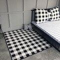DeMissir скандинавский лаконичный большой ковер для спальни  гостиной  коврик  белая черная сетка  детская подушка  детский коврик для ползания ...