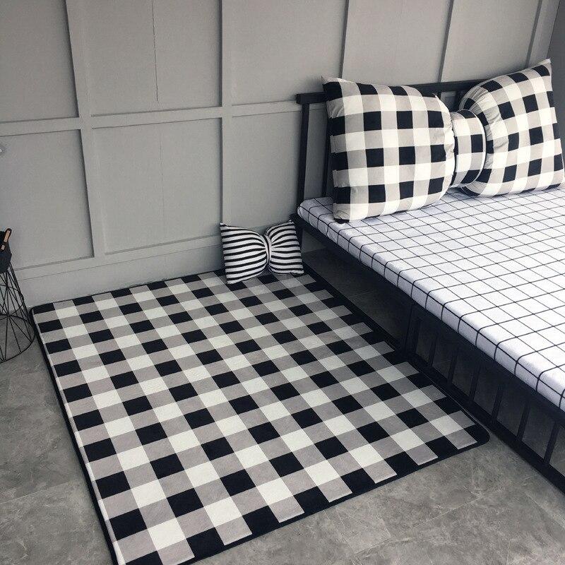 DeMissir nordique concis grand tapis pour chambre salon zone tapis blanc noir grille enfants Pad bébé rampe Pad antidérapant