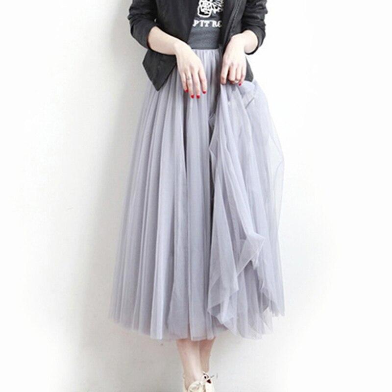 Tulle Skirts Womens 2018 Summer Fashion High Waist Lace Mesh Pleated Long Skirt Elastic Sun Fluffy Tutu Skirt Jupe Longue Femme