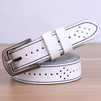 Breathable Hollow Thin Belt Women Pin Buckle Real Leather Belts Woman Fashion Casual Strap High Quality