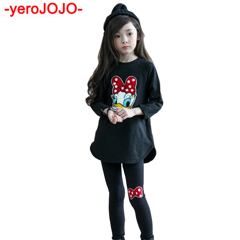 Girls Minnie Clothes Set Kids 2018 New Fashion Girl Spring 2Pcs Long Sleeve Dress + Leggingst Suit Set Girls Tracksuit Clothing
