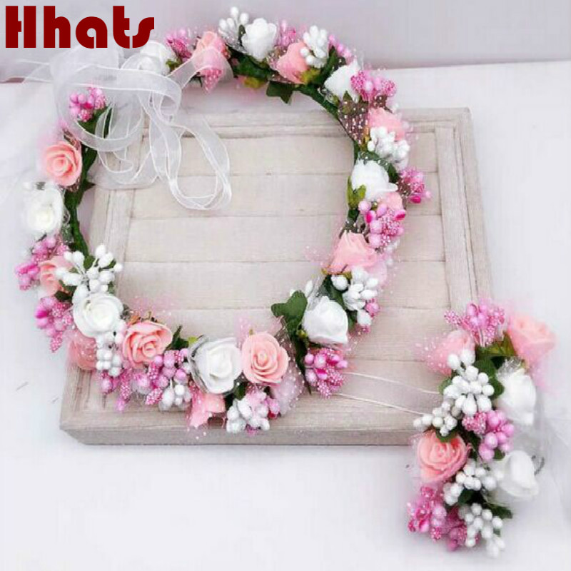 Handmade festival hair ribbon flower hair accessories artificial floral women girl wedding headband crown garland handwrist sets