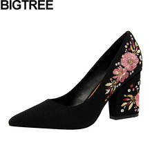 BIGTREE Bohemia Women Pumps Pointed Toe Flock Floral Flower Embroidered Shoes Woman Thick Square Block High Heels Wedding Shoes