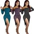 2016 Зима Женщины Party Dress Slash Шеи Сексуальная Ночной Клуб Платья С Плеча С Длинным Рукавом Бинты Сплит Dress Bodycon Vestidos