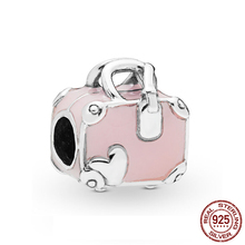 925 Sterling Silver Beads Pink Travel Bag Charms fit Original Pandora Bracelets Women DIY Jewelry floating heart locket beads fit european charms bracelets real 925 sterling silver jewelry women diy fine jewelry wholesale