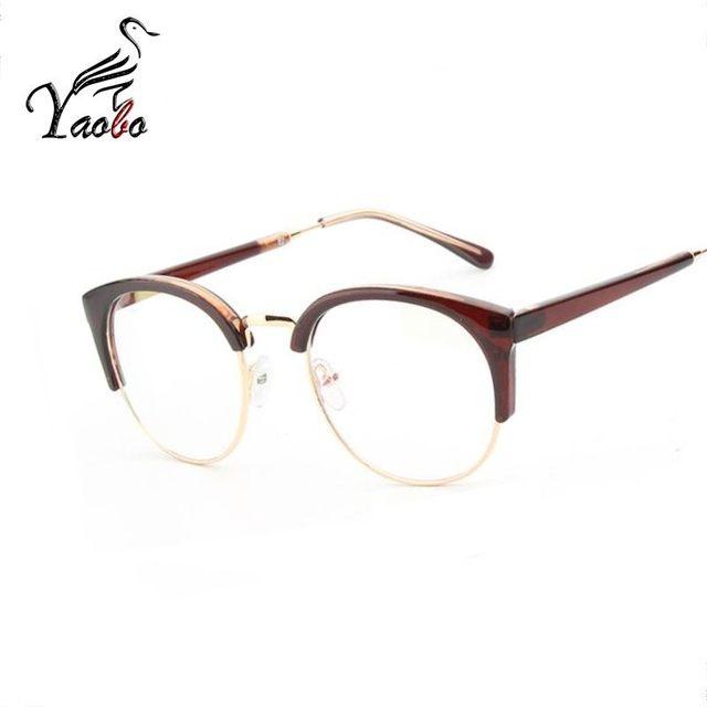 1c93312dea448 Yaobo Sem Aro Novo Gato Olho Mulheres óculos de armação de Moda óculos de  Marca De Grife Transparente Senhora Clara Cateye óculos de Metal Moldura De  Ouro