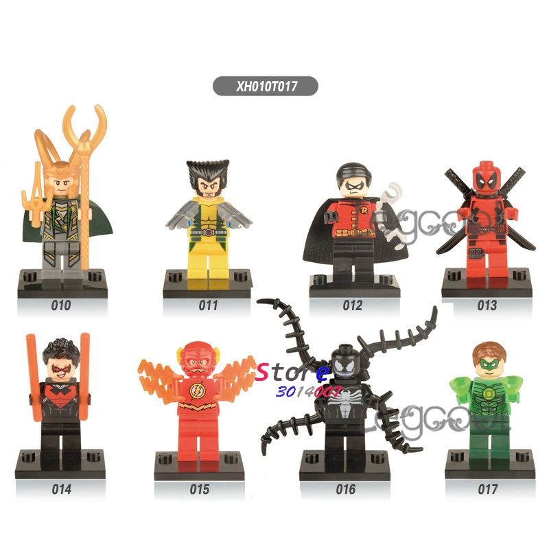50pcs model building blocks superhero Loki Wolverine Robin Deadpool Green Lantern The Flash Nightwing construction toys
