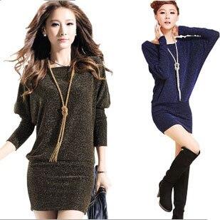 Новый 2017 Женщины Повседневная Dress Плюс Размер Женщин Dress Bat Рукава короткие Осень Зима Dress Vestidos Золото/Синий/Серебристый vestidos