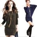 New 2017 Women Casual Dress Plus Size Women Dress Bat Sleeve Short Autumn Winter Dress Vestidos Gold / Blue / Silver vestidos