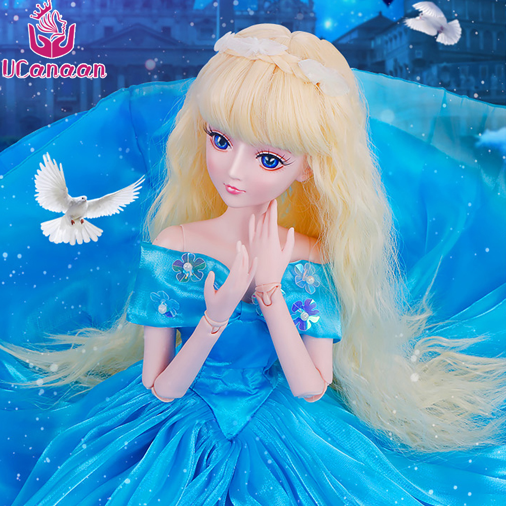 Ucanaan 1/3 Large BJD/SD Doll Model Reborn Girls High Quality Toys Make Up Blue Dress Princess Jointed Rotated Doll For Girls ucanaan 1 3 large bjd sd doll fashion make up the first princess doll offer dress wig clothes shoes toys for girl