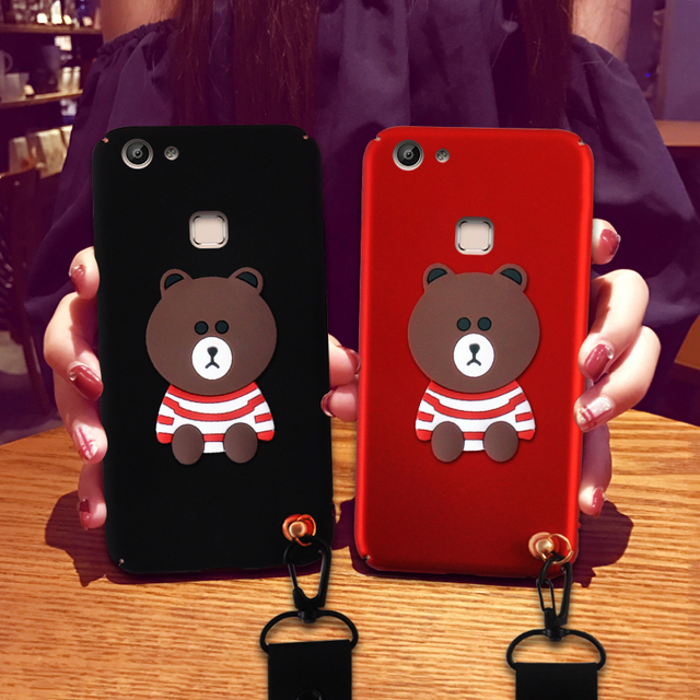 pretty nice e560b 22322 US $5.71 14% OFF Phone Case For VIVO V7 Plus 3D Cases VIVO Y7 Carton Bear  Matte Cover With Strap Phone Bag Cases For VIVO V7 plus Cover-in ...