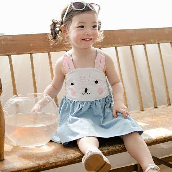 Kebaner Baby Girls Bunny Cartoon Halter Summer Cotton Dress