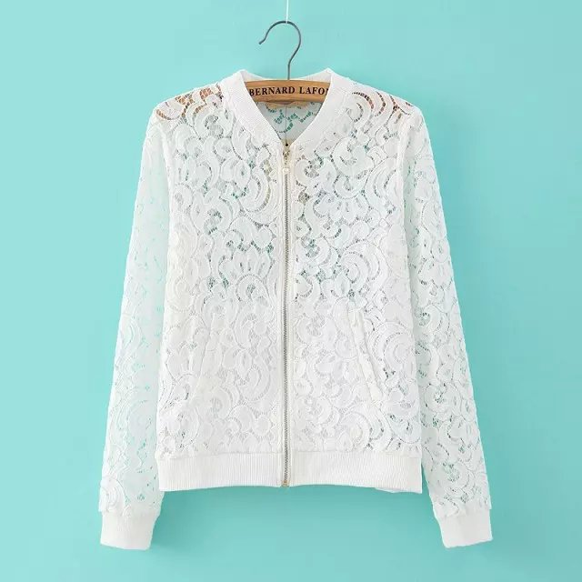 Hollow white cute casual shirt Crochet Zipper Cardigan Lace blusas ...
