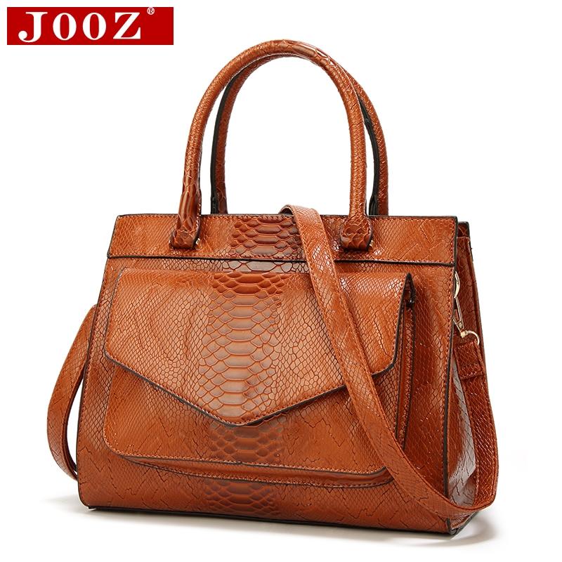 JOOZ New Fashion Woman Bag Luxe cuir Serpentine Women's leather Handbags With pouch Ladies Trunk Tote bolsos Women messenger bag