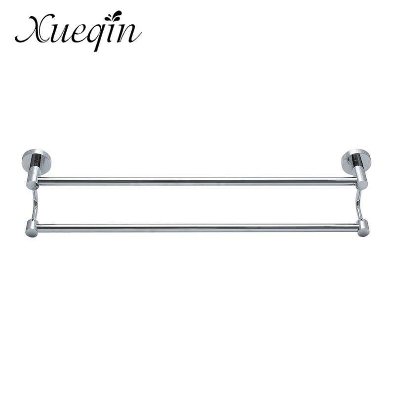 Xueqin Zinc Alloy Wall Mounted Towel Holder Storage Shelf Bathroom Double Tiers Towel Rack Stainless Steel