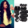 Peruvian virgin hair body wave with Lace Closure 4Bundles ali julia hair body wave,4x4 lace closure,100% human hair with Closure
