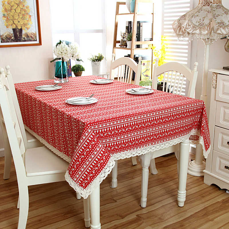 Linen Cotton Red Christmas Tree Tablecloth White Lace Hem Splice Washable Coffee Dinner Table Cloth for Wedding Banquet