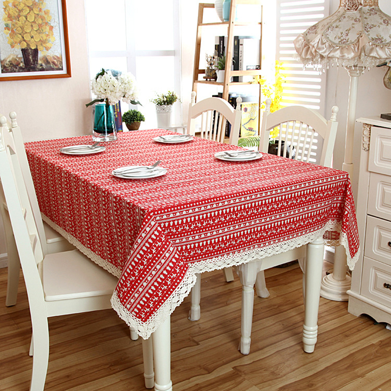 Linen Cotton Red Christmas Tree Tablecloth White Lace Hem Splice