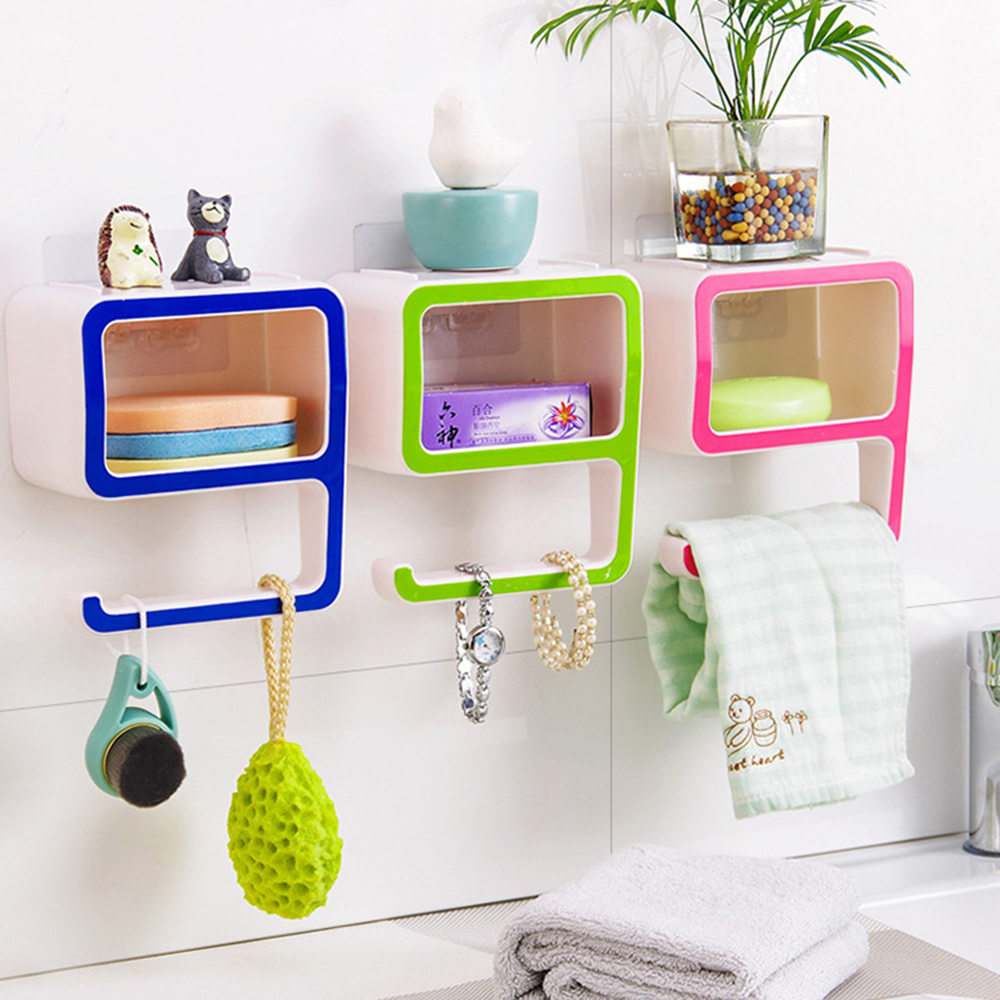Plastic removable bath shelf wall mounted cosmetic holder storage - Unique Multifunction Storage Soap Box Racker Holder Hanger Bathroom Organizers Baskets Shelves Home Decorations Cosmetic Holders