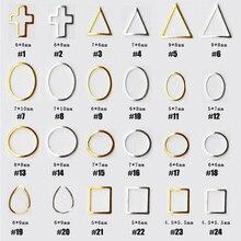 1000pcs/bag Nail Studs Japanese Style Art Deco Metal Frame Stud/Rivet Hollow Geometric DIY Charm Accessories