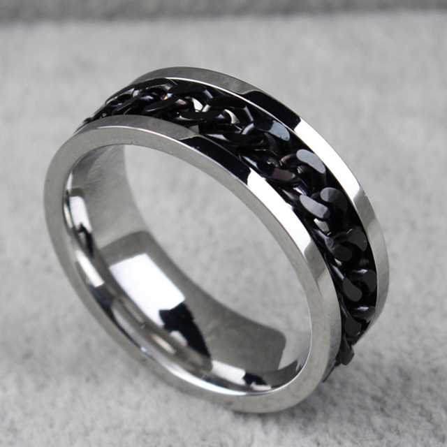Fashion Spinner Chain Ring For Men Gold Black Silver Stainless