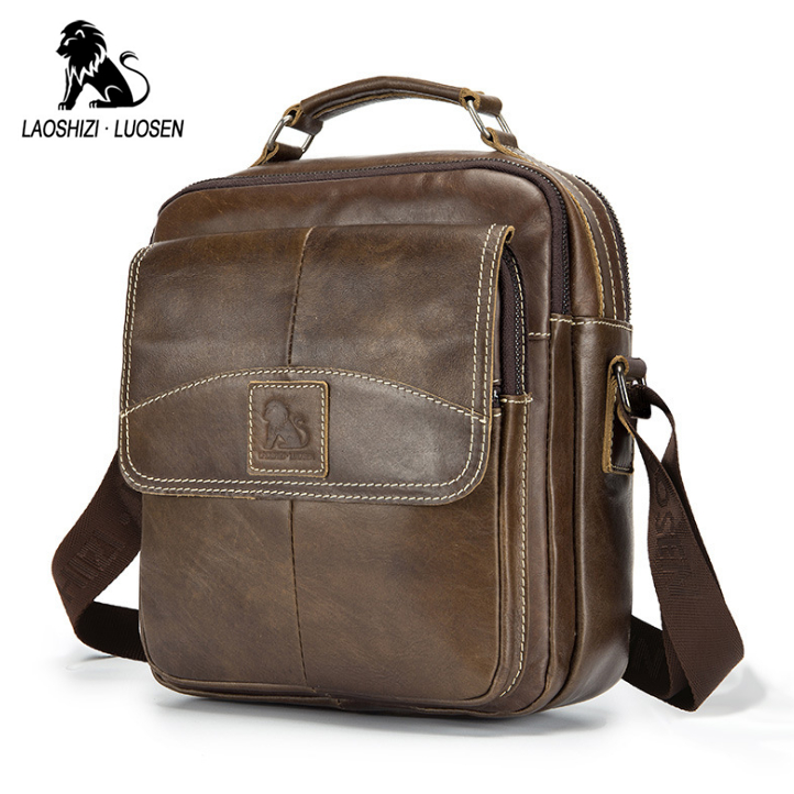 LAOSHIZI LUOSEN Men s Genuine Leather Shoulder Messenger Bags Male Tote Vintage small Crossbody Bags men