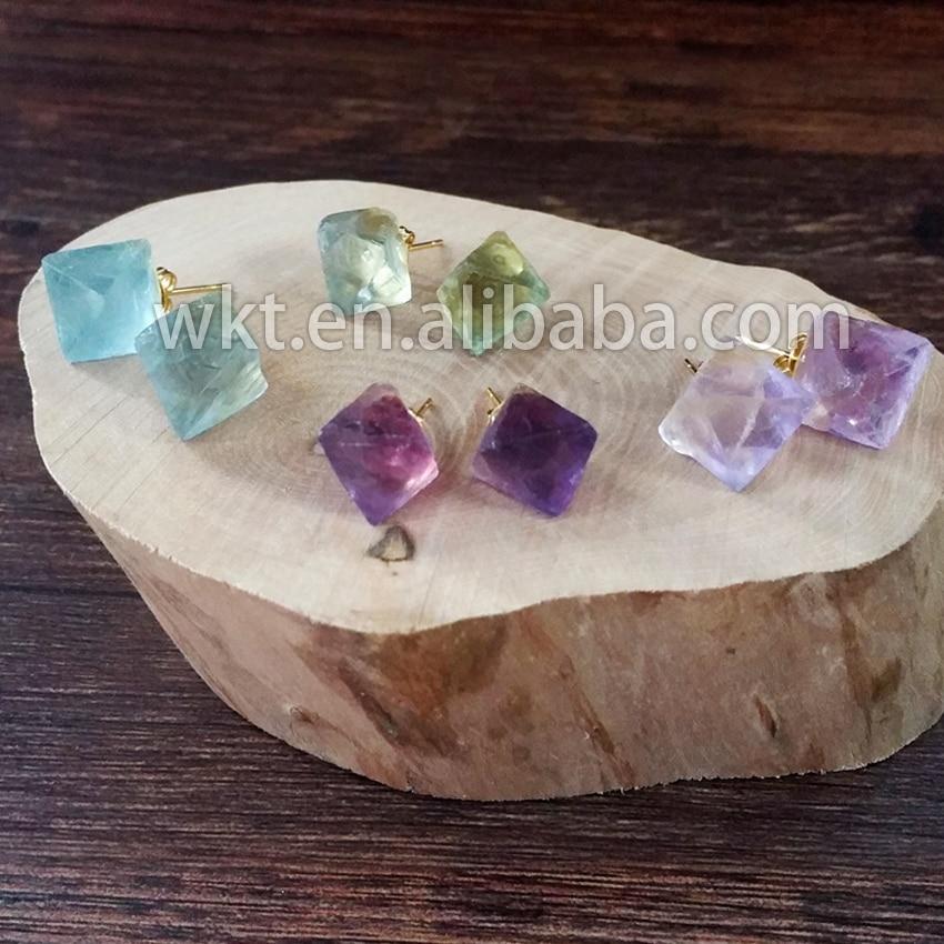 WT E122 nowa moda tiny naturalny surowy kamień fluorytu szpilki rainbow fluoryt piramidy tiny szpilki kolczyki w Kolczyki z zapięciem typu sztyft od Biżuteria i akcesoria na  Grupa 1