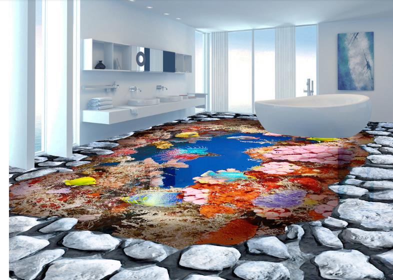 2018 3d flooring Sea coral reef self-adhesive wallpaper 3d floor painting wallpaper stereoscopic 3d mural bathroom floor free shipping hd 3d stereo coral reef tropical fish bathroom bedroom floor painting wallpaper self adhesive floor mural