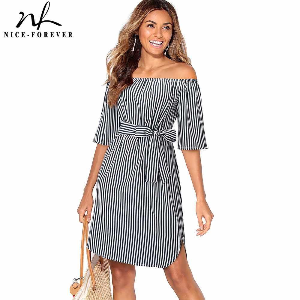 Хороший-навсегда повседневные Элегантные с открытыми плечами Pinup в полоску с поясом vestidos-линии Бизнес работы вечерние Flare женское платье A127