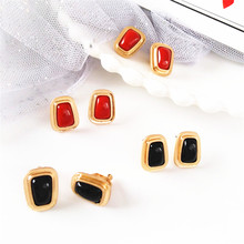 Simple metallic geometric stylish ladies with irregularly square stud earrings Exaggerated woman ornaments wholesale
