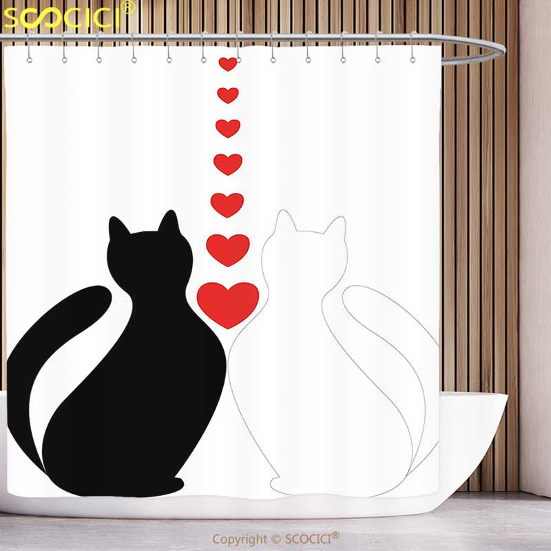 Cartoon Cat Love Moon Wooden Fence Shower Curtain Bath Rugs Waterproof Polyester