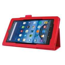 цена на Folio Flip Leather Magnetic Smart Cover Case Stand For Amazon Fire 7 Red