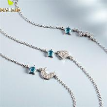 Flyleaf 925 Sterling Silver Bracelets For Women Sun And Moon Star Crystal Party Simple Fashion Fine Jewelry & Bangles