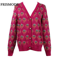 2018 new Autumn Winter Women's Knitted Sweater V neck Long Sleeve Strawberry Pattern Loose Single Breasted Cardigan Sweater Tops