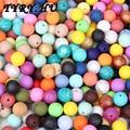 100 unid de 15mm Perlas de Silicona Dentición Collar para Mamás y Bebés Joyería de DIY Bebé Masticar Enfermera Granos Encías Chupete Chupete Clips encantos