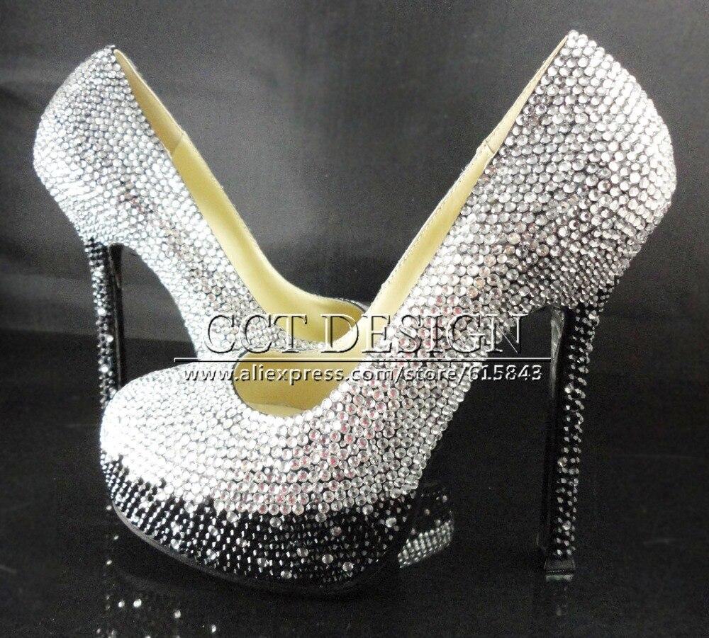 417653b3c54f6 US $239.0  Stufenweise farbe ändern silber grau und schwarz strass ultra  high heels plattform hochzeit braut schuhe mit passenden taschen in ...