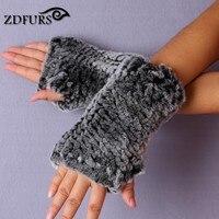 ZDFURS 2017 New Women S 100 Real Genuine Knitted Rex Rabbit Fur Winter Fingerless Gloves Mittens