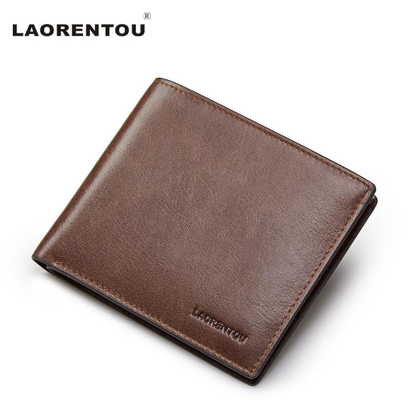 Laorentou Vintage Simple Style Genuine Leather Wallet Men's Short Wallet 100% Cow Leather Casual Male Standard Wallets N5