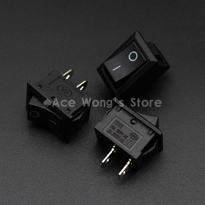 10pcs KCD1-101 AC 6A 250V 2 Pin ON/OFF I/O SPST Snap in Mini Black Button Boat Rocker Switch 15*21MM new mini 5pcs lot 2 pin snap in on off position snap boat button switch 12v 110v 250v t1405 p0 5