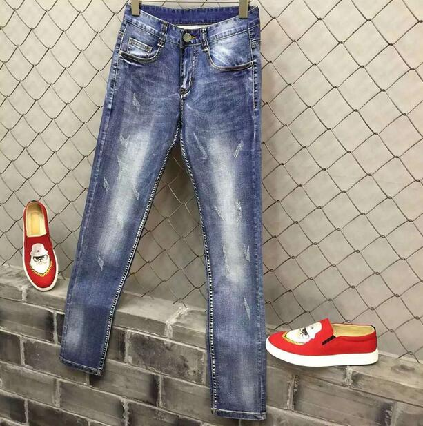 Blue 2016 spring summer thin Cats should be scratches jeans mens slim elastic pants male jeans