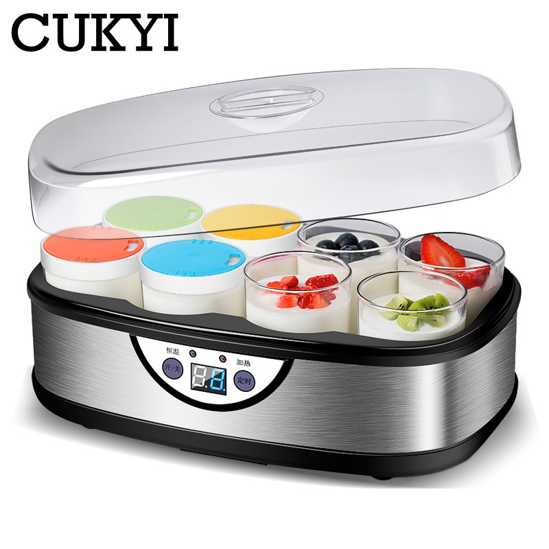 CUKYI Fully Automatic Multifunctional Yogurt Maker Household Electric Rice Wine Machine With 8 Colorful Cups