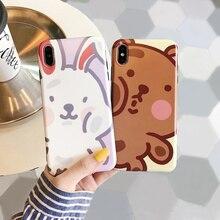 Cartoon big face rabbit bear shield case phone for iphone 7plus 7 6 s 8 plus scrub silicon soft cover xr x xs max i10