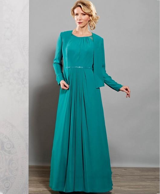 Elegante Plus Size mãe dos vestidos de noiva com jaqueta mulheres Evening partido mãe do noivo Formal vestidos para o casamento 03201