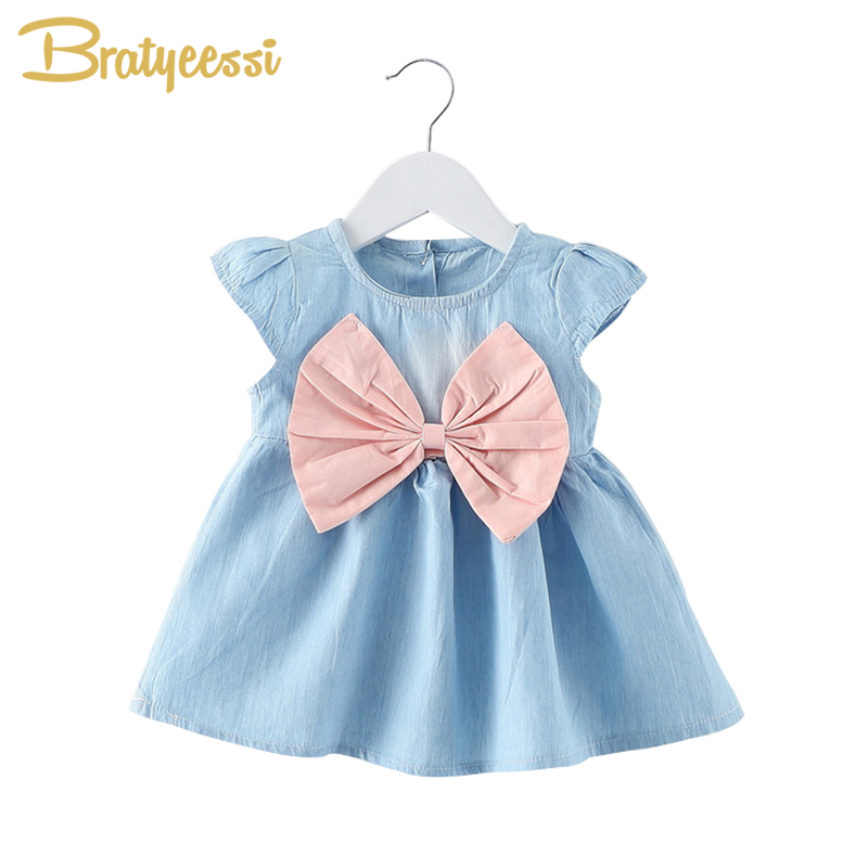 Princess Big Bow Denim Baby Dress for Girls A-Line Baby Girl Summer Clothes Cotton Cute Korean Infant Dress