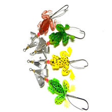 High Quality 1 pcs/lot Rubber Top Water Frog Fishing Lure 6.2g Selicone Soft Bait with Spinner Bass Carp Fishing Tackle(China)