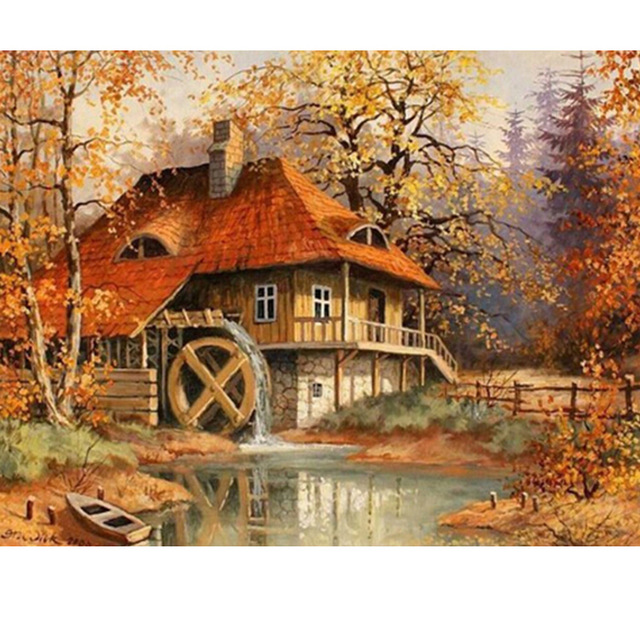 Landscape Autumnhouse river tree picture 5D Round crystal Cross Stitch Diamond Embroidery mosaic pattern home decor