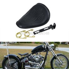 Black Leatheroid Deep Dish Solo Spring Seat For Custom Bobber Harley Sportster Dyna