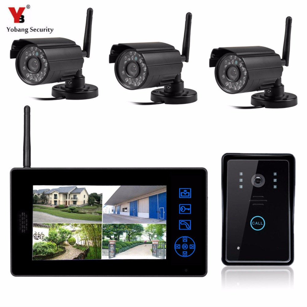Yobang Security Wireless Video Doorbell Video Surveillance Intercom Door Phone+3 Outdoor Security Cameras CCTV Security System
